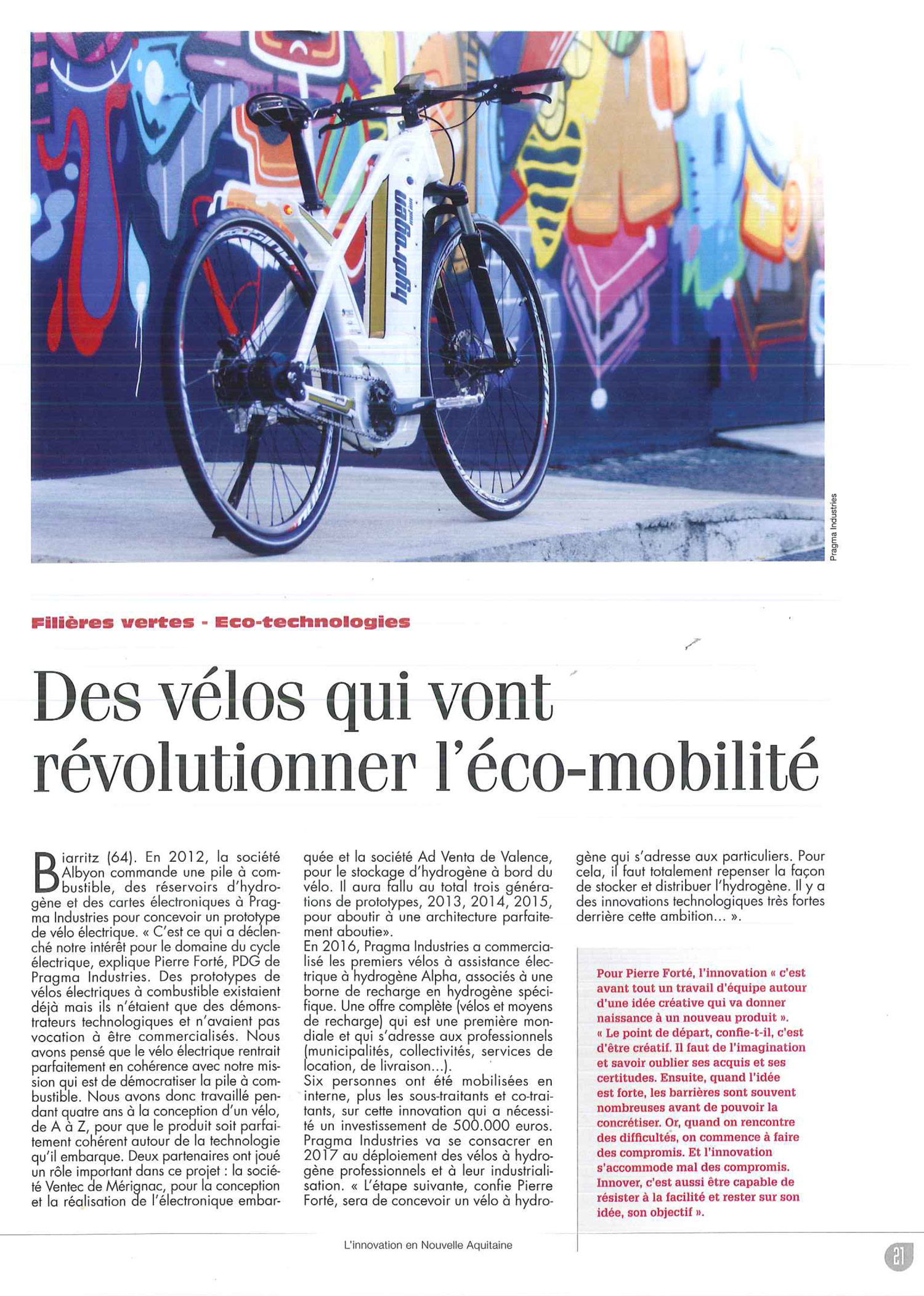 Article de journal Innovation en Aquitaine